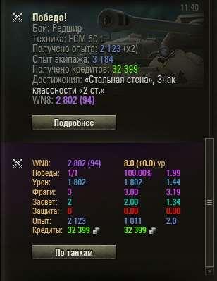 Послебоевая статистика WN8
